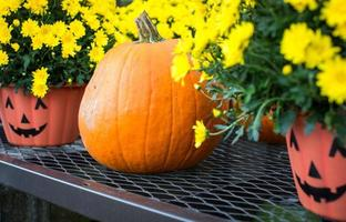 Halloween pumpkin and pots