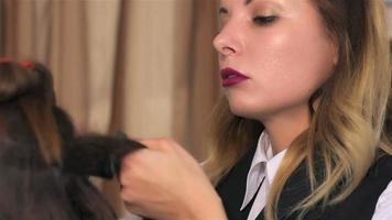 estilista está trabajando en la creación de peinados video