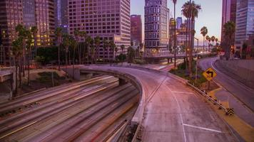 Time Lapse - Downtown Los Angeles with Traffic at Evening video