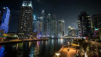famous place River Walk And Dubai Marina with skyscraper
