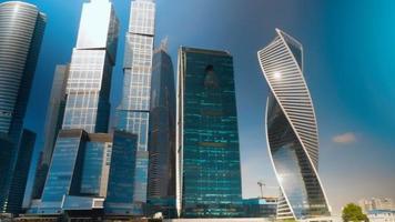 complesso di grattacieli della città di Mosca. lasso di tempo
