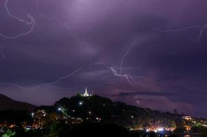 Thunderstorm with lightning bolts on the Thai island photo