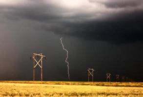 Lightning striking behind Saskatchewan power line photo