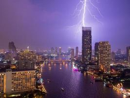 Thunderstorm and Lightning Over the City photo