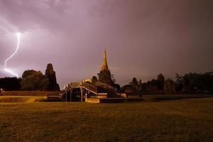Pagoda Temple on with lighting is world heritage, Ayutthaya, Thailand photo