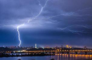 Lightning over the city photo