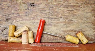 wine corks and a corkscrew