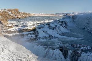 Beautiful Gullfoss waterfall at sunset. Iceland, nature
