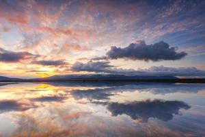 Beautiful reflections on sunset in Iceland