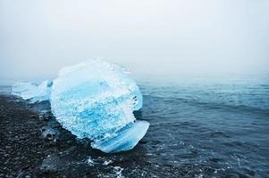 Beautiful ice on the coast of the Atlantic ocean.