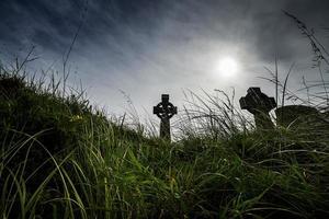 Irish cemetery with Celtic cross