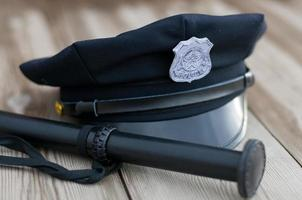 Police equipment. Hat and truncheon