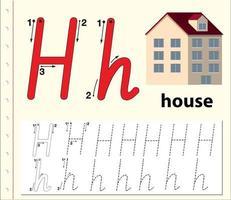 Hoja de trabajo del alfabeto de rastreo de letra h con casa