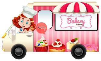 Bakery truck with baker girl driving vector
