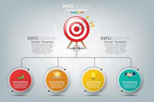 Infographic template target with four elements vector