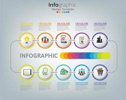 Abstract infographic process chart with elements vector
