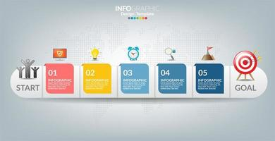 Infographic template with icons and 5 elements or steps.