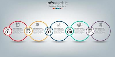 Diseño de plantilla infográfica con 5 elementos de color. vector