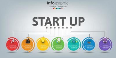 Plantilla de línea de tiempo infográfica con círculos de colores de 7 pasos vector