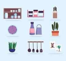Kitchen interior icon set vector