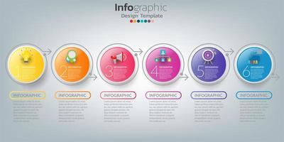 Plantilla de línea de tiempo infográfica con círculos de colores de 6 pasos vector