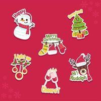 paquete de pegatinas de navidad alegre vector