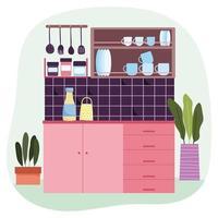 fondo interior cocina vector