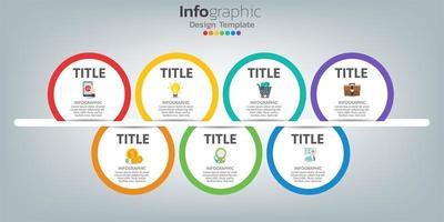 Plantilla de diseño infográfico de línea de tiempo con 7 pasos.