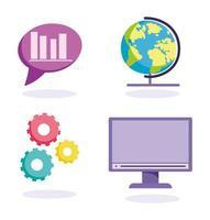 Online education concept icon set