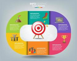 Target with icons and text, infographic template.