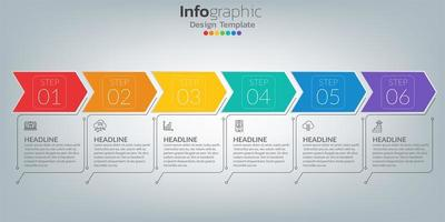 Timeline infographic template with icons in success concept