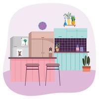 Kitchen interior background vector