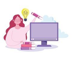 concepto de educación en línea con mujer y computadora