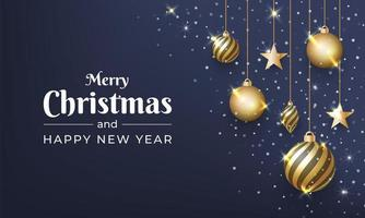 Merry Christmas with shiny gold ball ornament vector