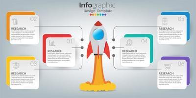 Plantilla de infografía de línea de tiempo con iconos en concepto de éxito