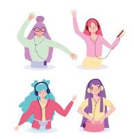 Girls listening to music icon set vector