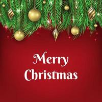 Christmas background with golden ball ornaments vector