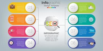 Infographics for SEO concept with icons and steps