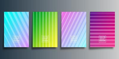 Set of colorful striped gradient covers vector