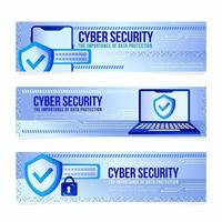 Cyber Security Set of Banners vector
