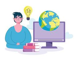 Online education concept with man and computer