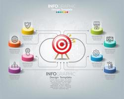 Infographic template with digital marketing icons
