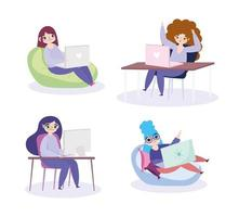 Young woman on the laptop at home vector