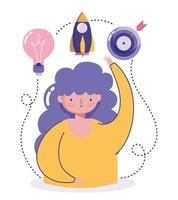 Creativity and technology concept with woman and icons vector