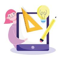 Online education concept with student girl and tablet