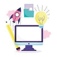 concepto de educación en línea con computadora vector