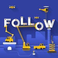 Construction site crane building Follow text. vector