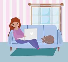 mujer joven en la computadora portátil en casa vector