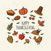 Thanksgiving monoline hand drawn icons