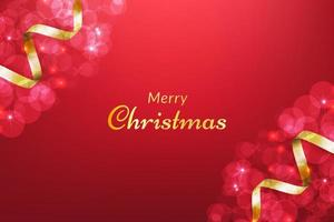 Red Merry christmas background with gold ribbon